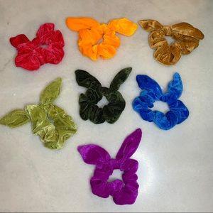 Set of 7 Velvet Bunny Ear/Bow Scrunchies